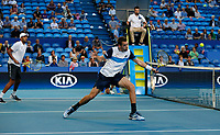 3rd January 2020; RAC Arena, Perth, Western Australia; ATP Cup Australia, Perth, Day 1,; USA v Norway Austin Krajicek of the USA plays a volley at the net during the doubles against team Norway - Editorial Use