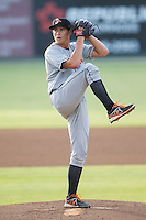 Delmarva Shorebirds starting pitcher Steven Brault (40) in action against the Kannapolis Intimidators at CMC-NorthEast Stadium on July 2, 2014 in Kannapolis, North Carolina.  The Intimidators defeated the Shorebirds 6-4. (Brian Westerholt/Four Seam Images)