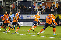 Danny Hylton of Luton Town (2nd right) celebrates after he scores his team's third goal of the game to make the score 3-1 on the night during the Sky Bet League 2 Play Off Semi Final 2 leg match between Luton Town and Blackpool at Kenilworth Road, Luton, England on 18 May 2017. Photo by David Horn.