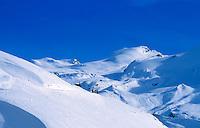 Switzerland, Valais, Zermatt, Winter hiking trail at Blauherd Mountain (2.571 m)