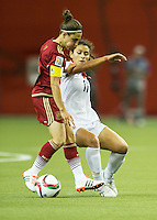Montreal - June 9, 2015:  Spain (red) tied with Costa Rica (white) 1-1 in a Women's World Cup match at the Olympic Stadium