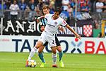 11.08.2019, Carl-Benz-Stadion, Mannheim, GER, DFB Pokal, 1. Runde, SV Waldhof Mannheim vs. Eintracht Frankfurt, <br /> <br /> DFL REGULATIONS PROHIBIT ANY USE OF PHOTOGRAPHS AS IMAGE SEQUENCES AND/OR QUASI-VIDEO.<br /> <br /> im Bild: Marco Schuster (SV Waldhof Mannheim #6), Makoto Hasebe (Eintracht Frankfurt #20)<br /> <br /> Foto © nordphoto / Fabisch