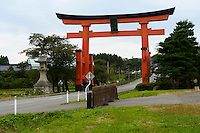 Huge Torii gate an the road leading to Mt Haguro, Dewa Sanzan, Tsuruoka-city, Yamagata Prefecture, Japan, October 17, 2012.