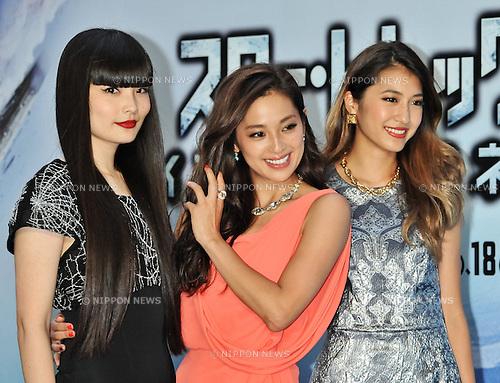 "Kozue Akimoto, Anne Nakamura, Mayuko Arisue, Aug 13, 2013 :Tokyo, Japan : (L-R)Japanese models Kozue Akimoto, Anne Nakamura and Mayuko Arisue attend the Japan premiere for the film ""Star Trek Into Darkness"" in Tokyo, Japan, on August 13, 2013."