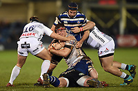 Will Safe of Gloucester Rugby is tackled to ground. Premiership Rugby Cup match, between Bath Rugby and Gloucester Rugby on February 3, 2019 at the Recreation Ground in Bath, England. Photo by: Patrick Khachfe / Onside Images