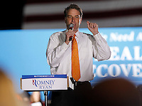 Republican congressman Robert Hurt introduced Republican vice presidential nominee Paul Ryan who rallied a crowd of about 1,500 during a campaign stop Thursday evening at the Crutchfield Corporation in Albemarle County, Va.