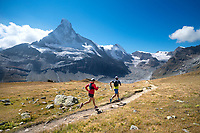 Trail running above Zermatt, Switzerland on the Matterhorn panorama trail.
