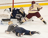 Cam Morrison (Notre Dame - 26), Cal Peterson (Notre Dame - 40), Ryan Fitzgerald (BC - 19) - The Boston College Eagles defeated the University of Notre Dame Fighting Irish 6-4 (EN) on Saturday, January 28, 2017, at Kelley Rink in Conte Forum in Chestnut Hill, Massachusetts.The Boston College Eagles defeated the University of Notre Dame Fighting Irish 6-4 (EN) on Saturday, January 28, 2017, at Kelley Rink in Conte Forum in Chestnut Hill, Massachusetts.