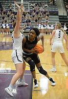 Bentonville's Maryam Dauda (right) drives to the lane Friday, Jan. 17, 2020, as Fayetteville's Caroline Lyles defends during the second half of play in Bulldog Arena in Fayetteville. Visit nwaonline.com/prepbball/ for a gallery from the games.<br /> (NWA Democrat-Gazette/Andy Shupe)