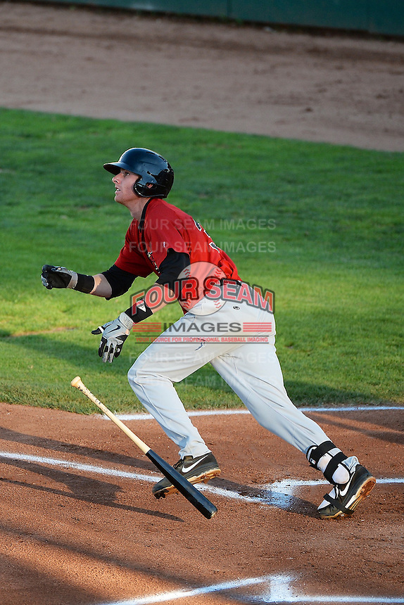Danny Hayes (35) Great Falls Voyagers at bat against the Ogden Raptors at Lindquist Field on August 13, 2013 in Ogden Utah. (Stephen Smith/Four Seam Images)