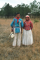 Portrait of a couple. Wixarika (Huichol) community in the Sierra Madre Occidental, Mexico