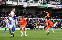 Blackpool's Nathan Delfouneso with an overhead kick at goal<br /> <br /> Photographer Andrew Kearns/CameraSport<br /> <br /> The EFL Sky Bet League Two - Bristol Rovers v Blackpool - Saturday 2nd March 2019 - Memorial Stadium - Bristol<br /> <br /> World Copyright © 2019 CameraSport. All rights reserved. 43 Linden Ave. Countesthorpe. Leicester. England. LE8 5PG - Tel: +44 (0) 116 277 4147 - admin@camerasport.com - www.camerasport.com
