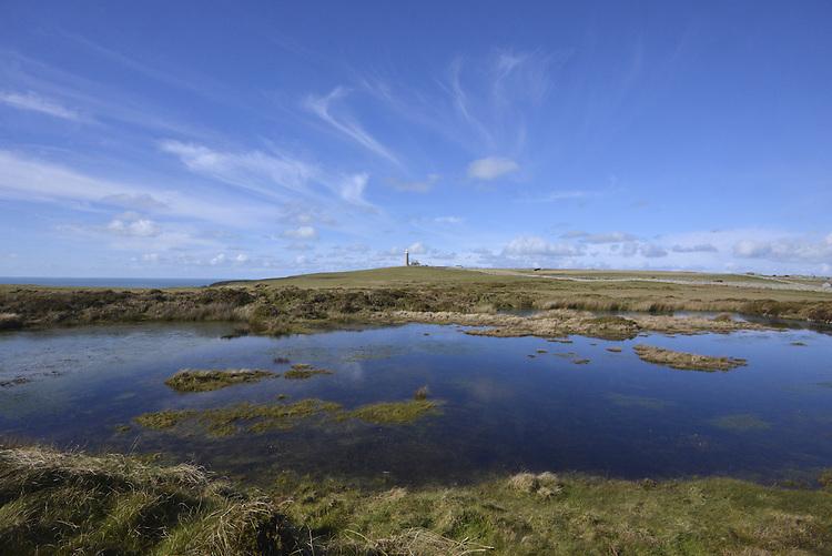 Rocket Pole Pond and the Old Light, Lundy, Devon.