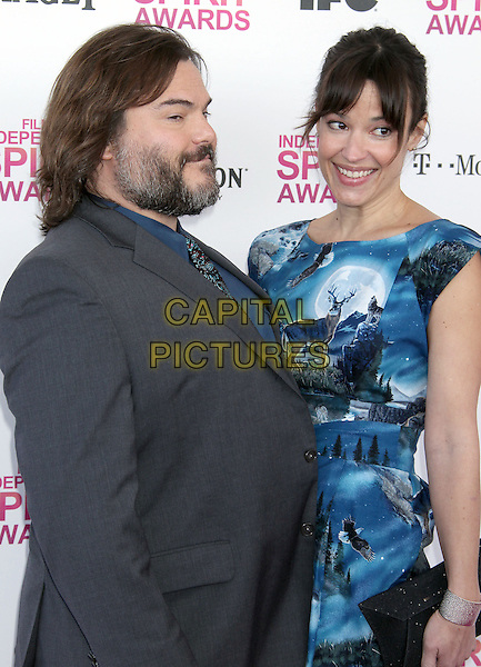 Jack Black, Tanya Haden.2013 Film Independent Spirit Awards - Arrivals Held At Santa Monica Beach, Santa Monica, California, USA,.23rd February 2013..indy indie indies indys half length blue print dress side funny blue shirt paisley tie grey gray suit beard facial hair .CAP/ADM/RE.©Russ Elliot/AdMedia/Capital Pictures