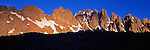 Panorama of Cathedral Peaks in the Rocky Mountains. The spires at sunrise. Near Aspen Colorado.