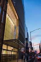 One World Trade Center North Elevation and Office Entrance at Dusk. 20 May 2015