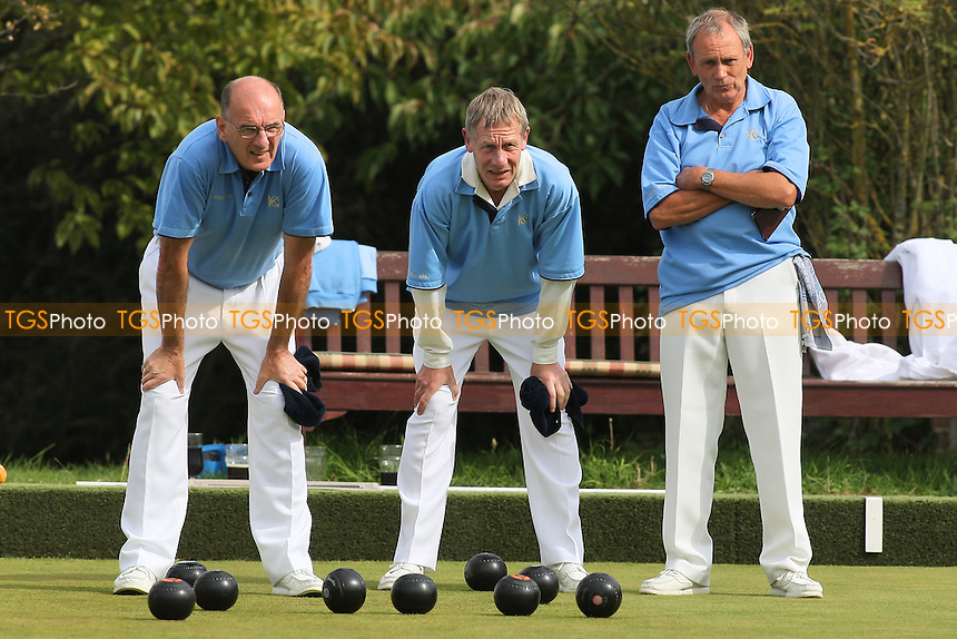 T Brown, B Payne, C Martin, B Sutton (Kings Chase BC, blue shirts) vs R Cue, M Rigby, T Able, T Bridge (Haynes Park BC) - Rink Mailer Cup - Romford & District Bowls Association Finals Day at Harold Hill Bowls Club, Broxhill Centre - 05/09/10 - MANDATORY CREDIT: Gavin Ellis/TGSPHOTO - SELF-BILLING APPLIES WHERE APPROPRIATE. NO UNPAID USE. TEL: 0845 094 6026