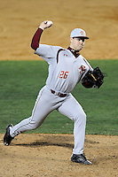Relief pitcher Bobby Skogsbergh (26) of the Boston College Eagles delivers a pitch in a game against the Wofford College Terriers on Friday, February 13, 2015, at Russell C. King Field in Spartanburg, South Carolina. Wofford won, 8-4. (Tom Priddy/Four Seam Images)