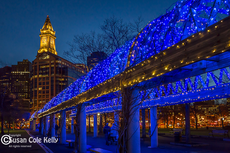Christmas lights at the waterfront Pergola, Boston, Massachusetts, USA