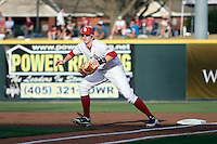 Oklahoma Sooner 1B Cameron Seitzer against Texas Tech on Friday April 1st, 2011 at Dale Mitchell Park in Norman, Oklahoma.  (Photo by Andrew Woolley / Four Seam Images)