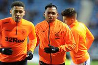 Alfredo Morelos of Rangers warms up ahead of the game during Rangers vs SC Braga, UEFA Europa League Football at Ibrox Stadium on 20th February 2020