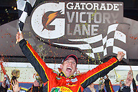 Jamie McMurray celebrates in victory lane after winning the Daytona 500 at Daytona International Speedway, Daytona Beach, FL, February 14, 2010.  (Photo by Brian Cleary/www.bcpix.com)