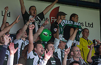 Plymouth Argyle supporters celebrate the victory during the Sky Bet League 2 match between Wycombe Wanderers and Plymouth Argyle at Adams Park, High Wycombe, England on 12 September 2015. Photo by Andy Rowland.