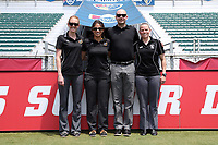 Cary, North Carolina  - Saturday June 03, 2017: Match officials (from left): Alicia Messer, Christina Unkel, Christopher Spivey, and Maggie Short prior to a regular season National Women's Soccer League (NWSL) match between the North Carolina Courage and the FC Kansas City at Sahlen's Stadium at WakeMed Soccer Park. The Courage won the game 2-0.