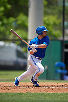 Dunedin Blue Jays Cal Stevenson (8) at bat during a Florida State League game against the Jupiter Hammerheads on May 16, 2019 at Jack Russell Memorial Stadium in Clearwater, Florida.  Dunedin defeated Jupiter 1-0.  (Mike Janes/Four Seam Images)