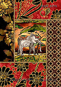 Kris, ETHNIC, paintings,+elephant++++,PLKKE375,#ethnic# étnico, illustrations, pinturas