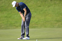 Ross Fisher (ENG) takes his birdie putt on the 13th green during Thursday's Round 1 of the 2017 Omega European Masters held at Golf Club Crans-Sur-Sierre, Crans Montana, Switzerland. 7th September 2017.<br /> Picture: Eoin Clarke | Golffile<br /> <br /> <br /> All photos usage must carry mandatory copyright credit (&copy; Golffile | Eoin Clarke)