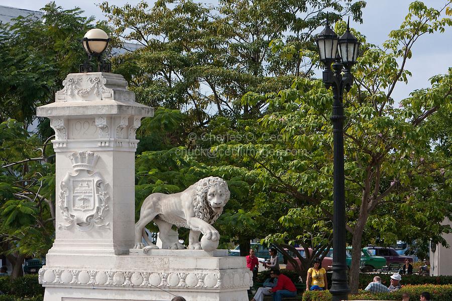 Cuba, Cienfuegos.  Sculpture of Lion Marking Entrance to the Parque Marti.