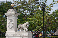 Cuba, Cienfuegos.  Sculpture of Lion Marking Entrance to the Parque Marti.