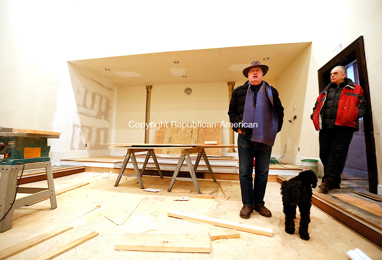 Woodbury, CT- 13 February 2015-021315CM06-<br /> Wayne Anderson, president of the King Solomon's Temple Organization, left, and Steve Lewis, member of the board of directors at the temple, talk about the renovation project inside King Solomon's Lodge No. 7 in Woodbury on Friday. The temple room, shown here, is one of the renovation projects that has begun at the lodge.   Christopher Massa Republican-American