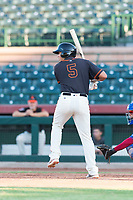 AZL Giants Orange designated hitter Sean Roby (5) at bat during an Arizona League game against the AZL Rangers at Scottsdale Stadium on August 4, 2018 in Scottsdale, Arizona. The AZL Giants Black defeated the AZL Rangers by a score of 3-2 in the first game of a doubleheader. (Zachary Lucy/Four Seam Images)