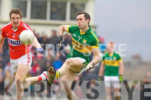 Brian McGuire Kerry in action against Aidan Walsh Cork in the National Football League at Austin Stack park, Tralee on Sunday.