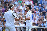 Novak Djokovic (Ser) defeated Roger Federer (Sui) in the men final<br /> Wimbledon 14/07/2019<br /> Tennis Grande Slam 2019 <br /> Finale - Final  <br /> Photo Antoine Couvercelle / Panoramic <br /> ITALY ONLY