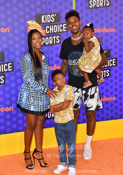 Nick Young, Keonna Green, Navi Young &amp; Nick Young Jr. at the Nickelodeon Kids' Choice Sports Awards 2018 at Barker Hangar, Santa Monica, USA 19 July 2018<br /> Picture: Paul Smith/Featureflash/SilverHub 0208 004 5359 sales@silverhubmedia.com