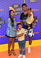 Nick Young, Keonna Green, Navi Young & Nick Young Jr. at the Nickelodeon Kids' Choice Sports Awards 2018 at Barker Hangar, Santa Monica, USA 19 July 2018<br /> Picture: Paul Smith/Featureflash/SilverHub 0208 004 5359 sales@silverhubmedia.com