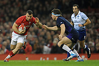 Wales' Gareth Davies tries to get past Scotland's Hamish Watson<br /> <br /> Photographer Ian Cook/CameraSport<br /> <br /> Under Armour Series Autumn Internationals - Wales v Scotland - Saturday 3rd November 2018 - Principality Stadium - Cardiff<br /> <br /> World Copyright &copy; 2018 CameraSport. All rights reserved. 43 Linden Ave. Countesthorpe. Leicester. England. LE8 5PG - Tel: +44 (0) 116 277 4147 - admin@camerasport.com - www.camerasport.com