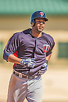 4 March 2013: Minnesota Twins outfielder Aaron Hicks in action during a Spring Training game against the St. Louis Cardinals at Roger Dean Stadium in Jupiter, Florida. The Twins shut out the Cardinals 7-0 in Grapefruit League play. Mandatory Credit: Ed Wolfstein Photo *** RAW (NEF) Image File Available ***