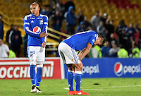 BOGOTA - COLOMBIA -30 -07-2016: Jugadores de Millonarios lamentan el resultado después el encuentro entre Millonarios y Rionegro Águilas por la fecha 6 de la Liga Aguila II 2016 jugado en el estadio Nemesio Camacho El Campin de la ciudad de Bogota./ Players of Millonarios lament the result of the game after the match between Millonarios and Rionegro Aguilas for the date 6 of the Liga Aguila II 2016 played at the Nemesio Camacho El Campin Stadium in Bogota city. Photo: VizzorImage / Gabriel Aponte / Staff.