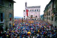 Gubbio 15 MAY 1998..Festival of the Ceri..The raising, ?Alzata? of the Ceri  the morning..http://www.ceri.it/ceri_eng/index.htm..
