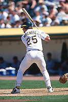 OAKLAND, CA - Mark McGwire of the Oakland Athletics in action during a game against the Colorado Rockies at the Oakland Coliseum in Oakland, California in 1997. Photo by Brad Mangin