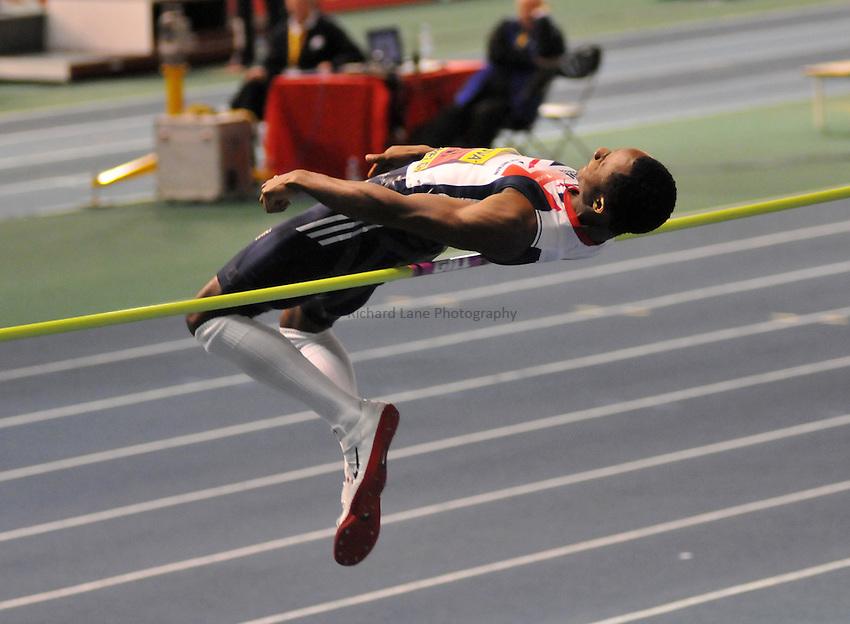 Photo: Tony Oudot/Richard Lane Photography. Aviva World Trials & UK Championships. 14/02/2010. .Mens High Jump. .Samson Oni.