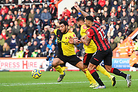 Troy Deeney of Watford plays the ball as Callum Wilson of Bournemouth appeals during AFC Bournemouth vs Watford, Premier League Football at the Vitality Stadium on 12th January 2020