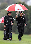 Jenna Hunter (L) and Rica Tse during the Barfoot and Thompson Charles Tour, Akarana Open, Akarana Golf Club, Auckland, Sunday 17  April 2016. Photo: Simon Watts/www.bwmedia.co.nz