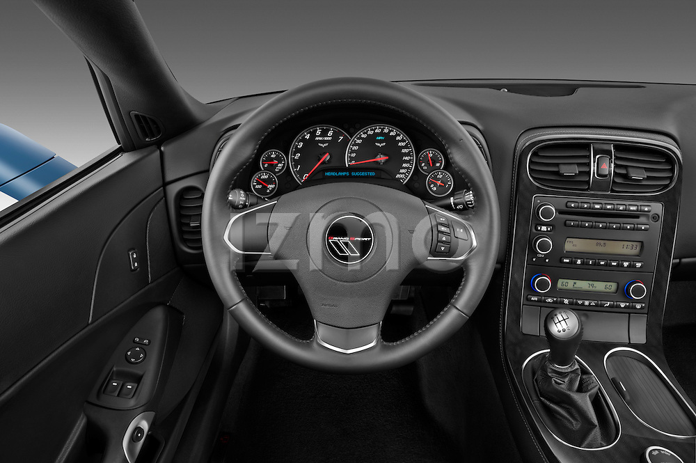 Steering wheel view of a 2012 Chevrolet Corvette GS Coupe