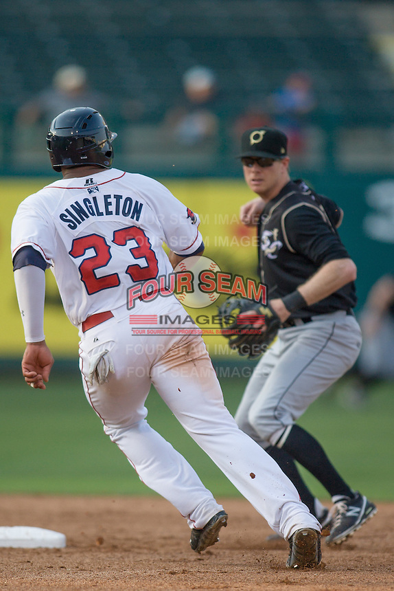 Oklahoma City RedHawks first baseman Jonathan Singleton (23) heads to second base as Omaha Storm Chasers second baseman Christian Colon (4) throws to first base during the Pacific Coast League game at Chickashaw Bricktown Ballpark on June 23, 2013 in Oklahoma City ,Oklahoma.  (William Purnell/Four Seam Images)