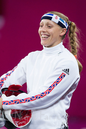 12 AUG 2012 - LONDON, GBR - Mhairi Spence (GBR) of Great Britain waits for her next match during the women's London 2012 Olympic Games Modern Pentathlon fencing at The Copper Box in the Olympic Park, in Stratford, London, Great Britain .(PHOTO (C) 2012 NIGEL FARROW)